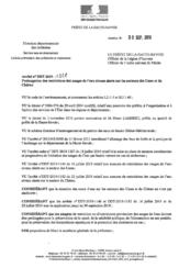 Arrêté n°DDT-2019-1528 Prolongation des restrictions des usages de l'eau niveau alerte sur les secteurs des Usses et du Chéran