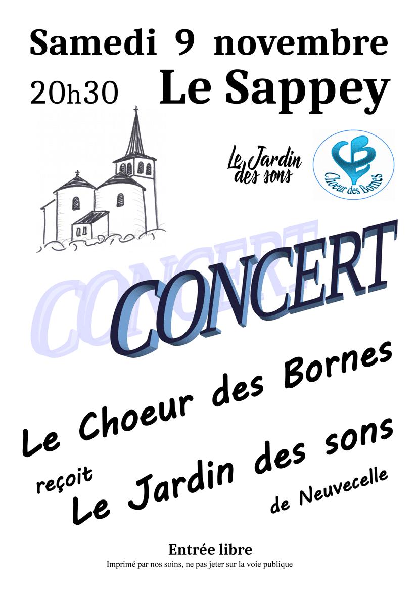 Concert du Chœur des Bornes le samedi 9 novembre 2019 en l'église du Sappey à 20h30