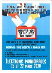 Inscription sur les listes électorales jusqu'au 7 février 2020