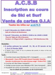Infos pour les inscriptions au ski-surf avec l'ACSB 2020