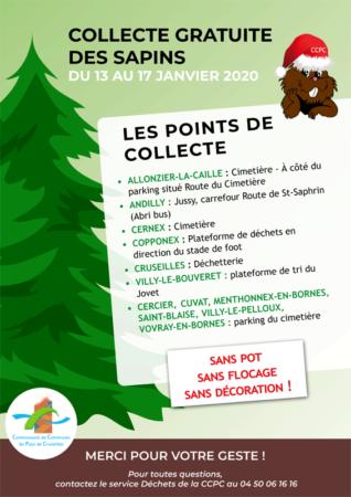 Collecte de sapins de noël du 13 et 17 janvier 2020