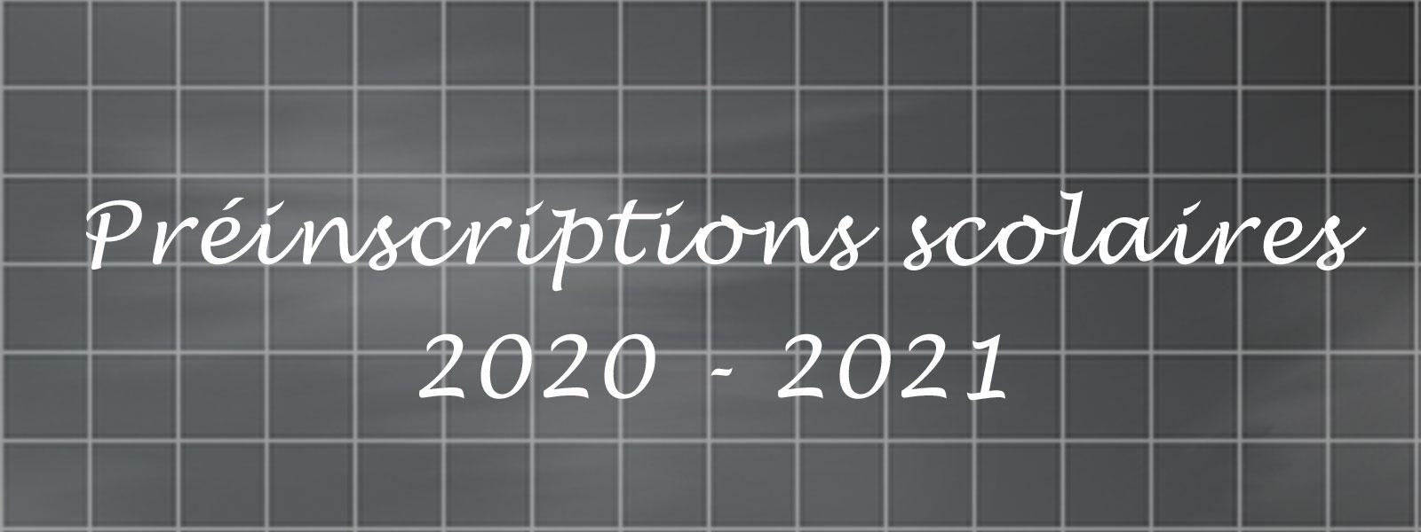 Préinscriptions scolaires 2020-2021