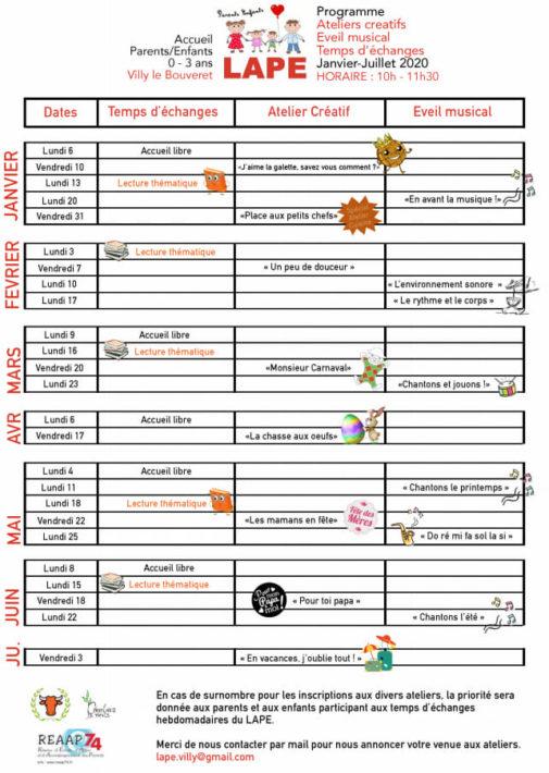 Calendrier des activités du LAPE de janvier à juin 2020 (format PDF, 109 KB)