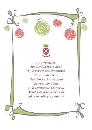 Invitation à la cérémonie des voeux 2020 le vendredi 31 janvier à 19 h à la salle polyvalente