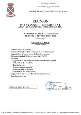 Ordre du jour du conseil municipal du 24 février 2020 à télécharger (format PDF, 41 Ko)