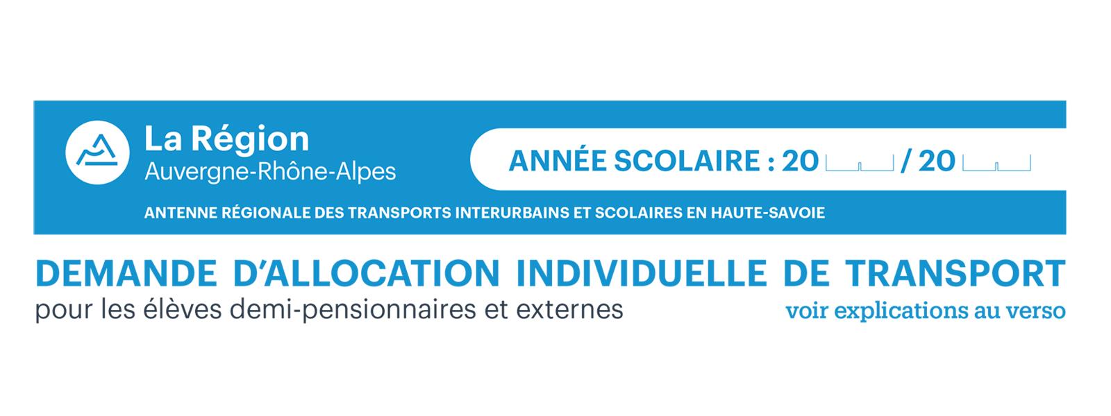 Allocation individuelle de transport 2019/2020