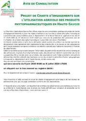 Avis de consultation :  Projet de charte d'engagements sur l'utilisation  agricoles des produits phytopharmaceutiques en Haute-Savoie