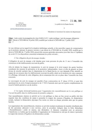 Circulaire de la Préfecture concernant la lutte contre la propagation du virus SARS-Cov2 du 23 juillet 2020