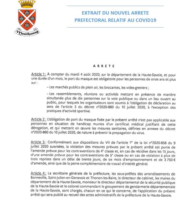 Extrait Arrêté Préfectoral Covid19