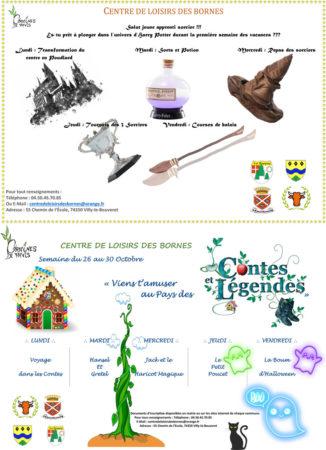 Programme des vacances d'automne 2020 du Centre de Loisirs des Bornes.