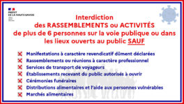 Les rassemblements de plus de six personnes sur la voie publique, dans les lieux ouverts au public et dans les parcs et jardins restent interdits sauf...