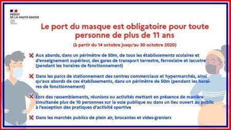 Obligation du port du masque en Haute-Savoie