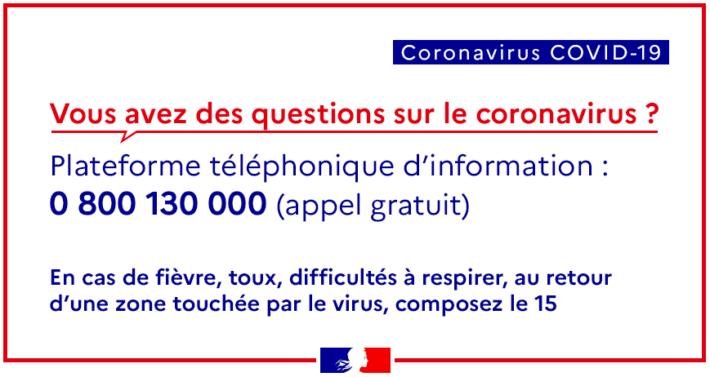 Plateforme téléphonique d'information sur le coronavirus . 0 800 130 000