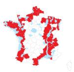 Carte des zones concernées par les mesures de prévention (ZRP en bleu, départements en rouge).