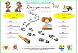 Programme des vacances de février 2021 du Centre de Loisirs des Bornes : les explorateurs