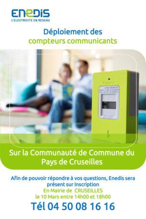 Permanence Enedis concernant le déploiement des compteurs communicants le 10 mars 2021 de 10h à 18h en mairie de Cruseilles sur inscription.