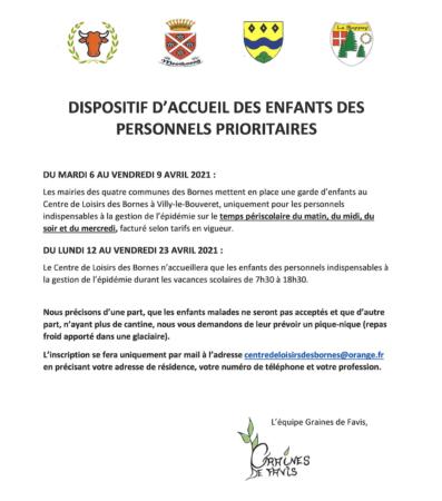 Dispositif d'accueil des enfants des personnels prioritaires du 6 au 23 avril 2021.