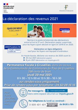 Permanence fiscale à Cruseilles dans les locaux de la Communauté de Communes du Pays de Crruseiilles le jeudi 20 mai 2021 sur rendez-vous.