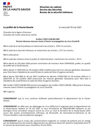 Arrêté préfectoral 2021-CAB-BSI-058 portant diverses mesures visant à freiner la propagation du virus Covid-19 (format PDF, 75 Ko).