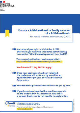You are a British national or family member of a British national. You moved to France before January 1, 2021.