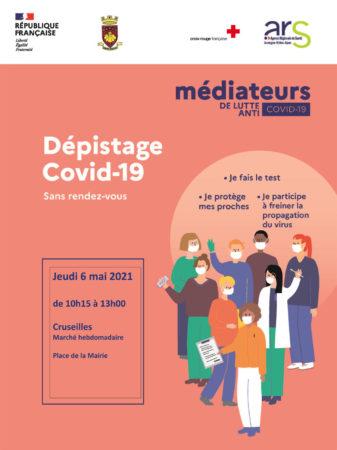 Médiateurs de lutte anti Covid-19 présents à Cruseilles le 6 mai 2021 de 10h15 à 13h.