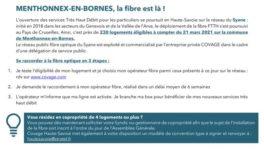Fibre optique : 230 logements éligibles à compter du 21 mars 2021 sur la commune de Menthonnex-en-Bornes