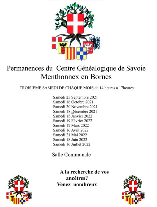 Permanences du Centre Généalogique de Savoie en 2021-2022