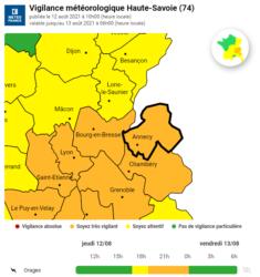 Vigilance orange orages - Jeudi 12 août 2021