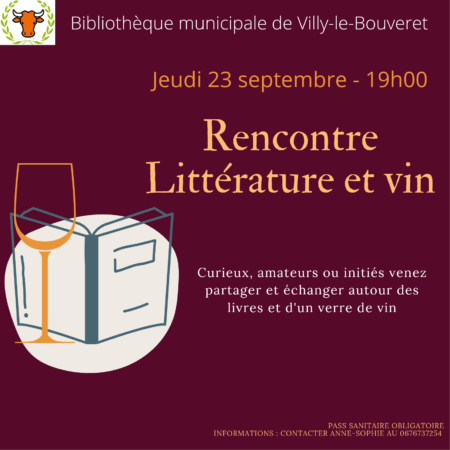 """Soirée """"Littérature et vin"""" organisée par la bibliothèque """"Le Bateau Livre"""" à Villy-le-Bouveret le 23 septembre 2021 à 19h."""