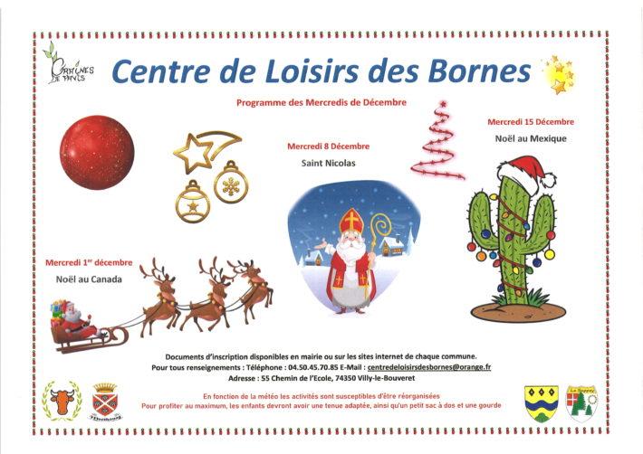 Centre de Loisirs des Bornes : programme des mercredis de décembre 2021