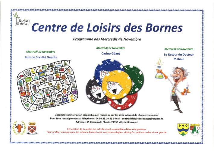Centre de Loisirs des Bornes : programme des mercredis de novembre 2021